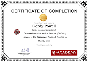 Coronavirus Disinfection Completion Certificate - Gordy Powell