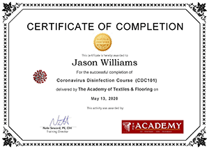 Coronavirus Disinfection Completion Certificate - Jason Williams